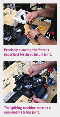 Cleaving the exposed fibres and using a fusion splicing machine to create an optimum joint.